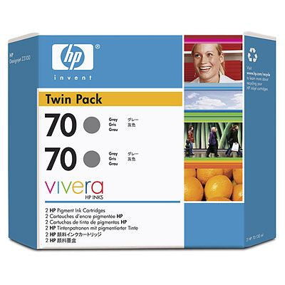HP 70 Gray Ink Cartridge Twin Pack - 2 x C9450A