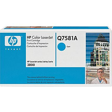 Q7581A - HP Cyan Toner Cartridge - CYAN TONER CARTRIDGE FOR COLOR LASERJET 3800 CP3505 6K PAGE YIELD Laser - 6000 Page – Cyan - CoolGraphicStuff.com