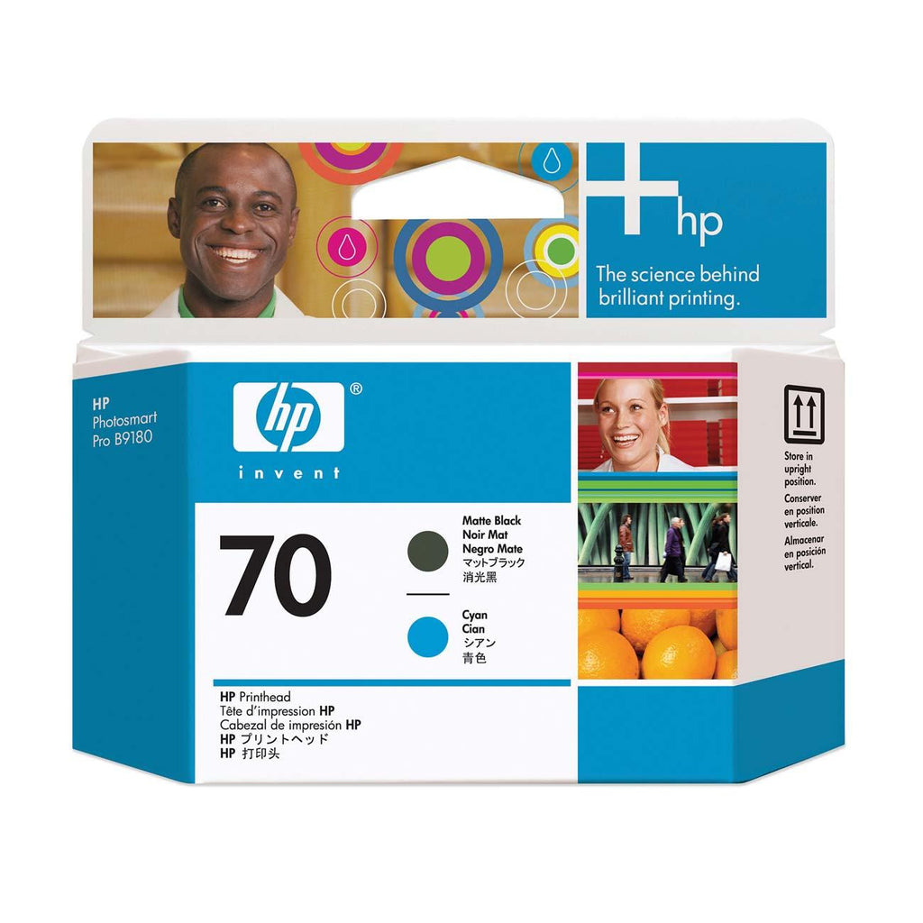 HP 70 Matte Black and Cyan Printhead - C9404A
