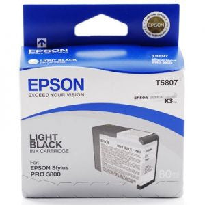 T580700 - Epson Stylus Pro 3800 - 80ml Light Black UltraChrome K3 Ink Cartridge - CoolGraphicStuff.com