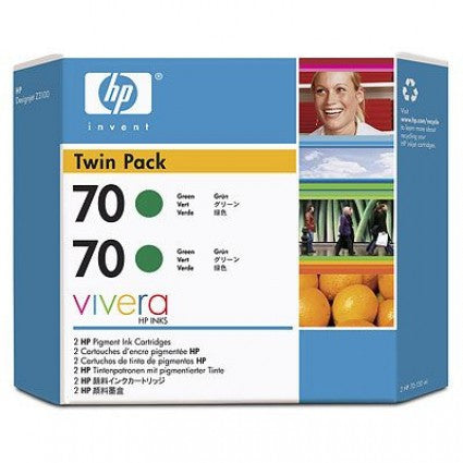 HP 70 CB348A Green Ink Cartridge Twin Pack - 2 x C9457A - CoolGraphicStuff.com