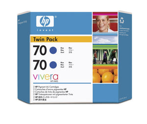 HP 70 CB349A Blue Ink Cartridge Twin Pack - 2 x C9458A - CoolGraphicStuff.com