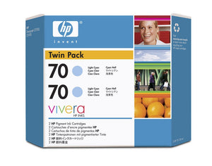 HP 70 CB351A Light Cyan Ink Cartridge Twin Pack - 2 x C9390A - CoolGraphicStuff.com