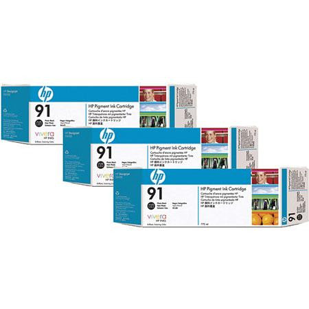 HP 91 Photo Black 3-pack - C9481A - 3 x C9465A