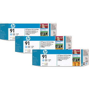 HP 91 Light Cyan 3-pack - C9486A - 3 x C9470A - CoolGraphicStuff.com