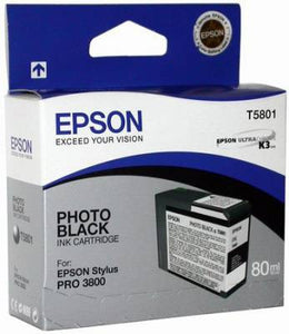 T580100 - Epson Stylus Pro 3800 - 80ml Photo Black UltraChrome K3 Ink Cartridge - CoolGraphicStuff.com