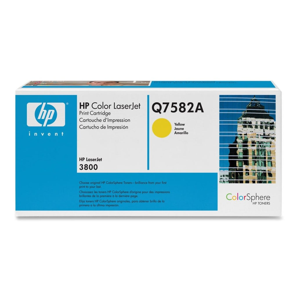 Q7582A - HP Yellow Toner Cartridge - YELLOW TONER CARTRIDGE F/COLOR LASERJET 3800 CP3505 6K PAGE YIELD Laser