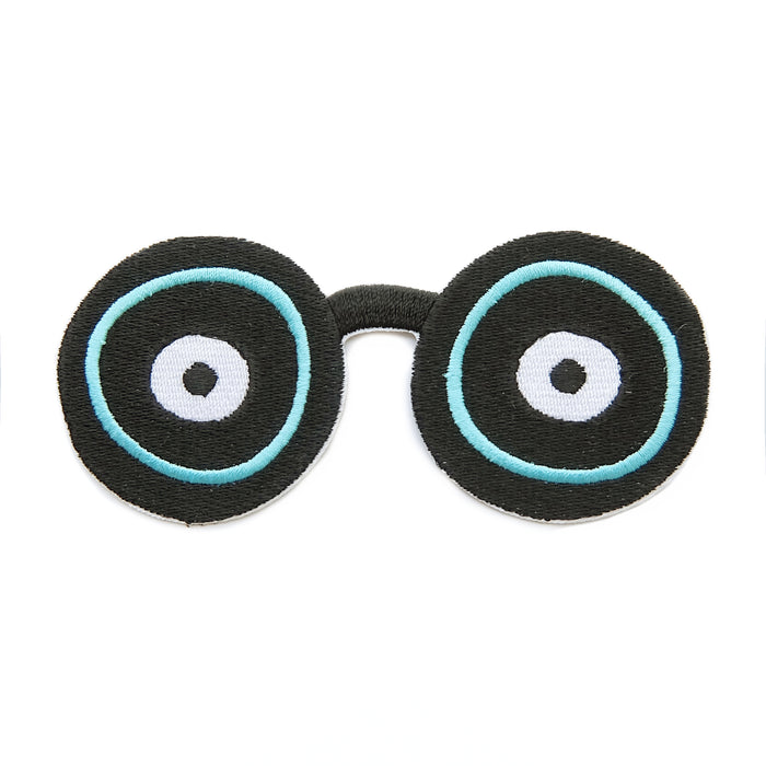 Geek eyes iron-on embroidered patch