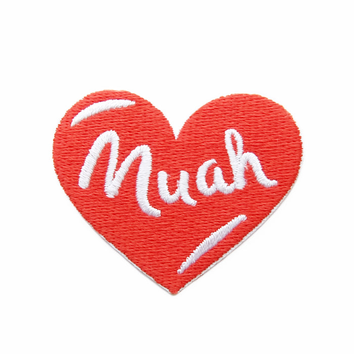 Muah iron-on embroidered patch