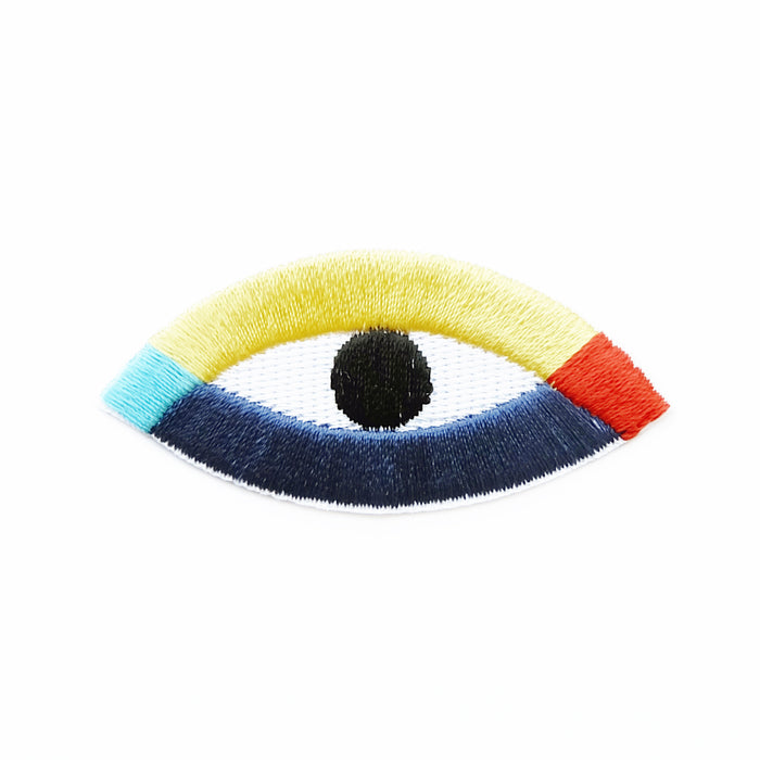 Rainbow eyes iron-on embroidered patch