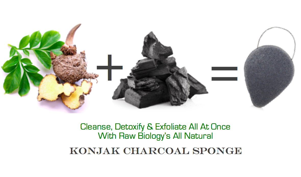 Charcoal Konjac Sponge with exfoliating Konjac root and detoxifying bamboo charcoal powder!