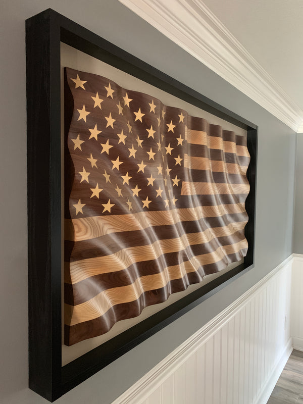 "The ""Amber Waves of Grain"" American Flag w/floating frame"