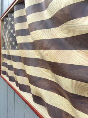 "The ""Amber Waves of Grain"" American Flag w/red border"