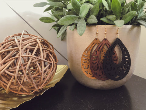 Laser Cut Wooden Teardrop Earrings