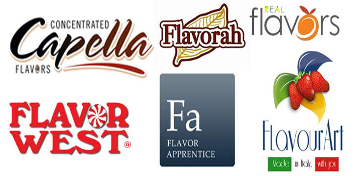 Logos of Capella, Flavorah, Real Flavors, Flavourart, Flavour West and The perfumers apprentice