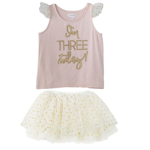 """I'm Three"" BIRTHDAY PRINCESS TUTU SKIRT SET"