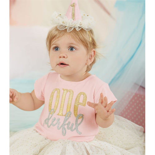 """I'm One"" GLITTER PARTY HAT HEADBAND"