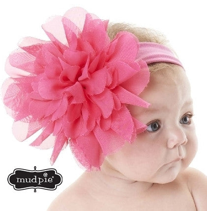 Mud Pie  Chiffon Flower Headband-HotPink