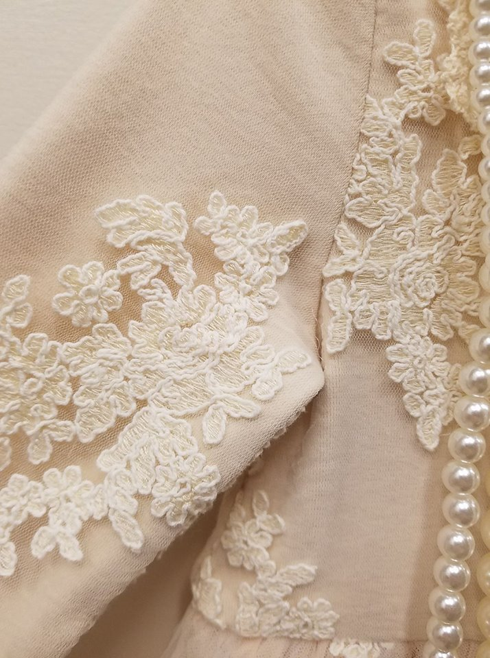 MaeLi Rose - Ivory Pearl Neckline Lace Dress