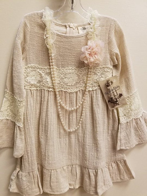 Vintage Inspired Linen Lace Dress