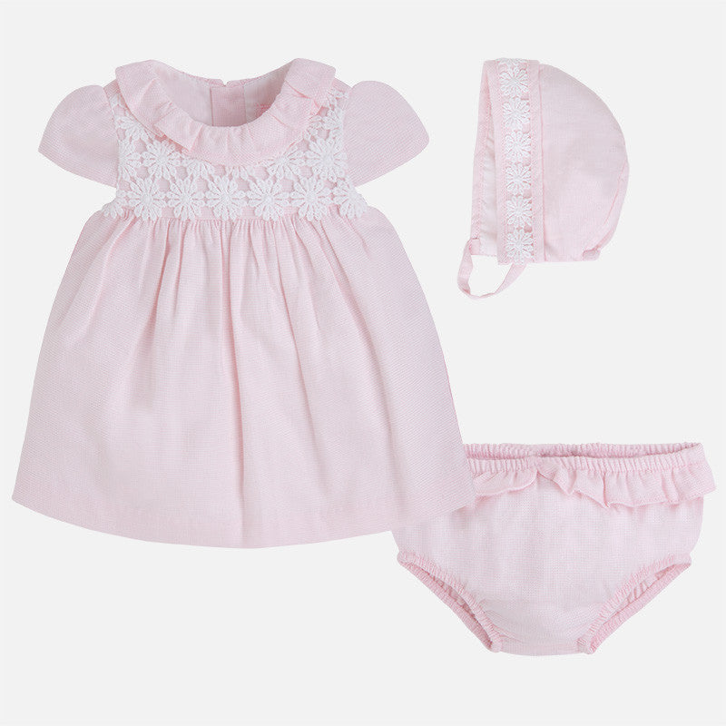 Baby dress with knickers and bonnet-light pink