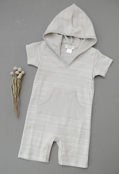 Feather Baby Little Boys Hooded Romper-Grey