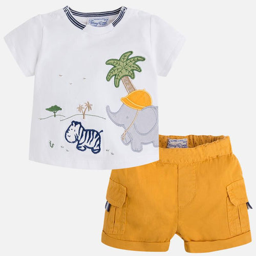 Mayoral Safari Shirt/Shorts Set
