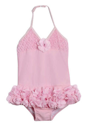 ISOBELLA & CHLOE GIRLS PINK PEONY FLOWERS ONE PIECE BATHING SUIT