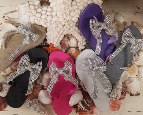 PLANET SEA -RHINESTONE BOW FLIP FLOPS