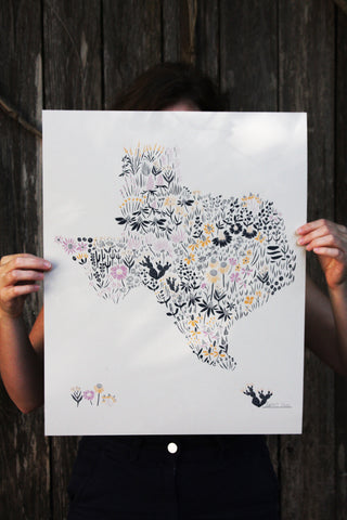 Texas Shape Floral Poster