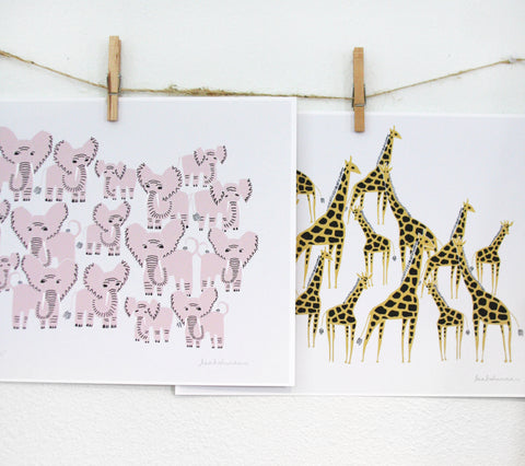 Animal Herd Prints Set of 2