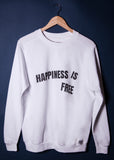 Happiness is Free - White Sweatshirt - Scoop Necked