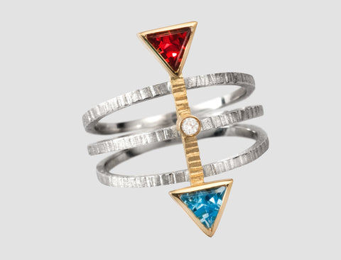 AR1 - Athena Gold and silver ring with natural stones and diamond