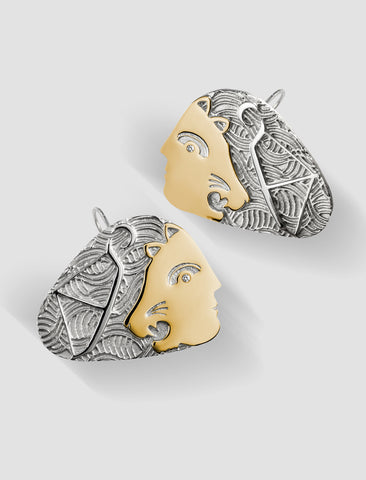 DE4 - Diana Gold and silver hook earrings