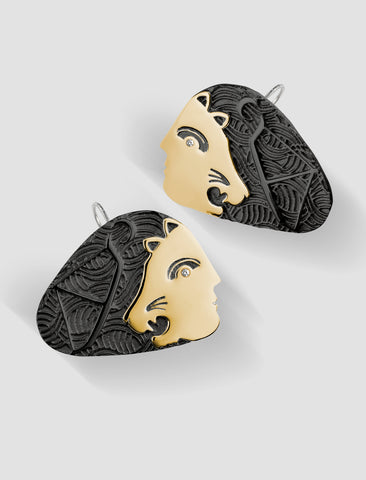 DE5 - Diana Gold and silver hook earrings with black ruthenium plating