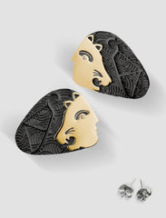 DE6 - Diana Gold and silver earrings with black ruthenium plating