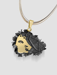 DP10 - Diana Gold, silver and black ruthenium pendant with diamond