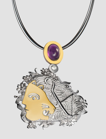 DP4 - Diana Gold and silver pendant with diamond and amethyst