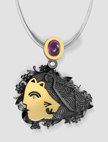 DP5 - Diana Gold, silver and black ruthenium plating pendant with diamond and amethyst