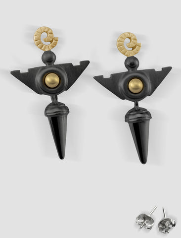 VE3 - Venus Gold and silver earrings with black ruthenium plating