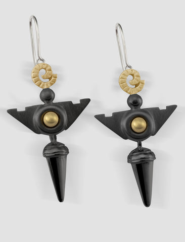 VE4 - Venus Gold and silver earrings with black ruthenium plating