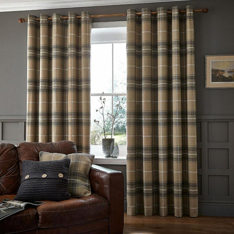 Brushed Heritage Check Grey Curtains