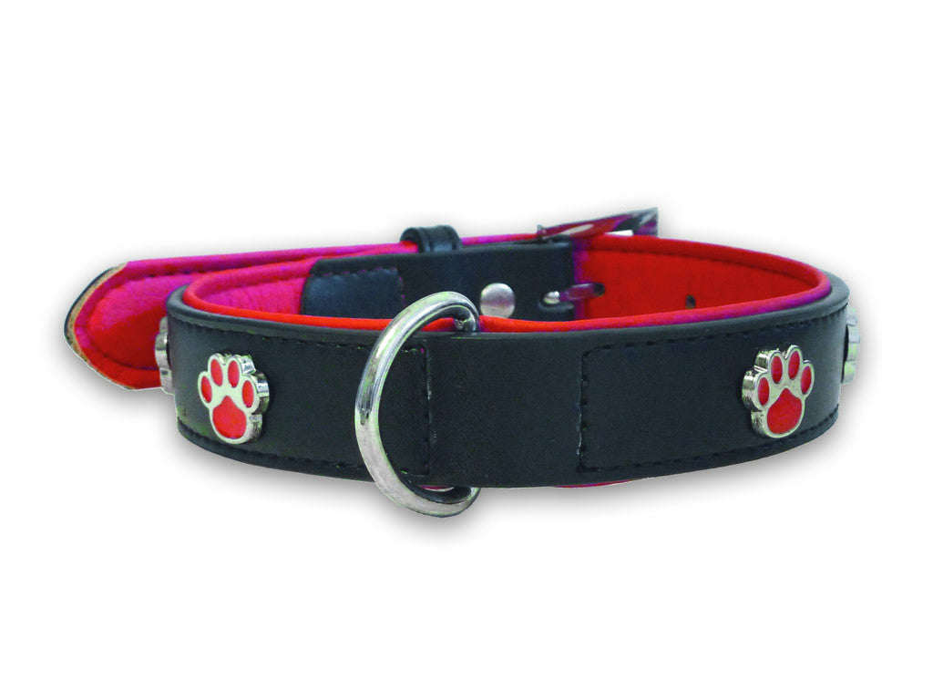 Paws Charm Leather Collar