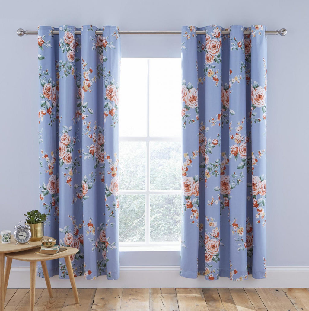 Canterbury Blue Black Out Curtains - New Design
