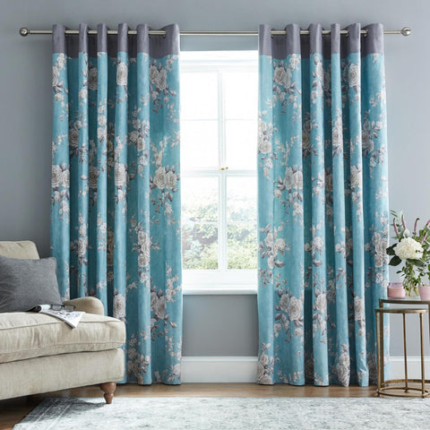 Canterbury Eyelet Curtains - Teal