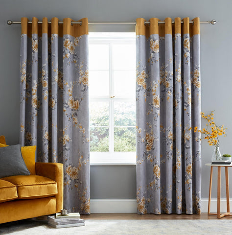 Canterbury Eyelet Curtains - Ochre