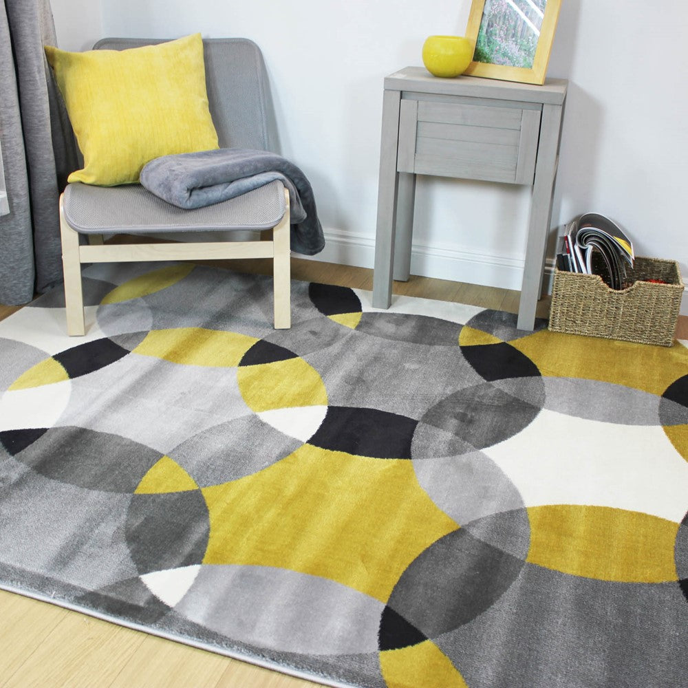 Cocktail Cosmo Rug - Grey/Ochre