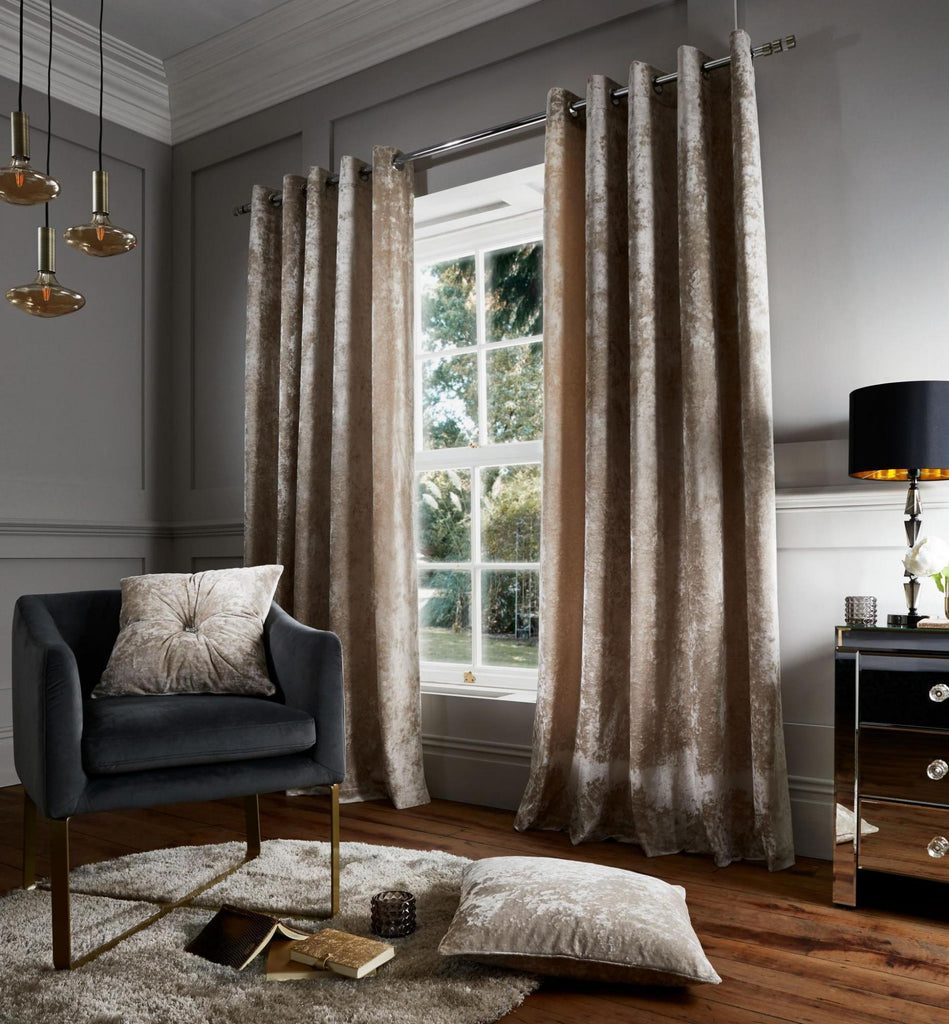 Catherine Lansfield Crushed Velvet Natural Curtains