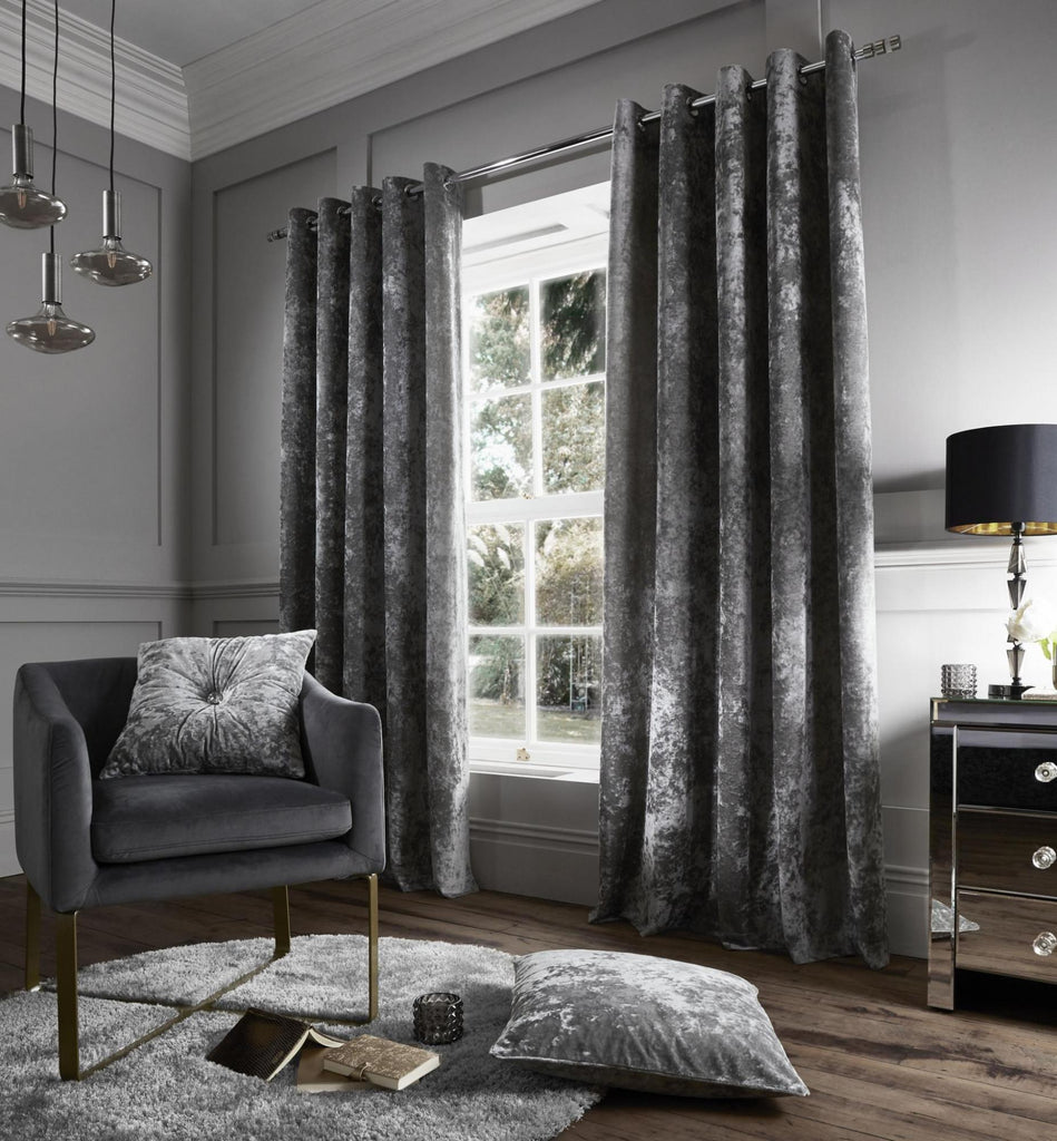 Catherine Lansfield Crushed Velvet Silver Curtains