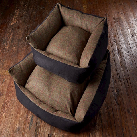 Tweed Wool Cosy Dog Bed - Olive